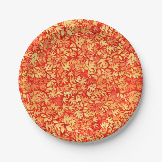 Autumn leaves, orange and gold 7 inch paper plate