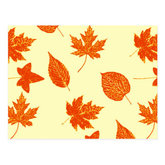 Autumn leaves - pale yellow and orange post card