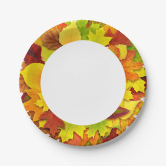 Autumn leaves paper plate