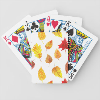 Autumn leaves pattern bicycle playing cards