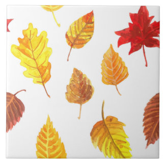 Autumn leaves pattern ceramic tile