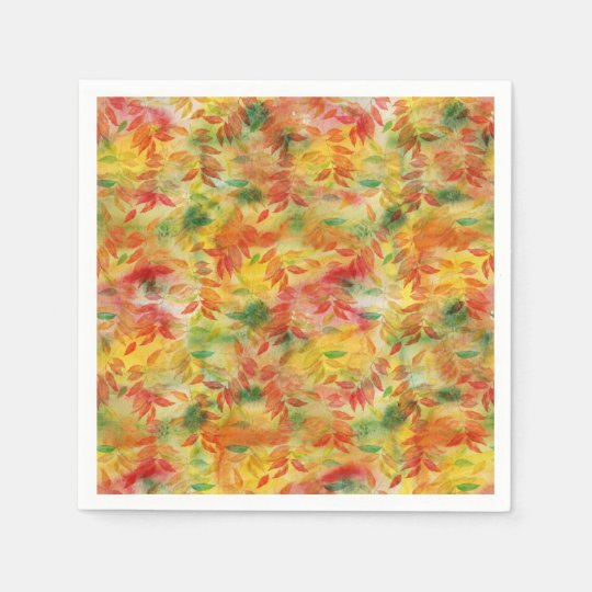 Autumn leaves pattern disposable serviette