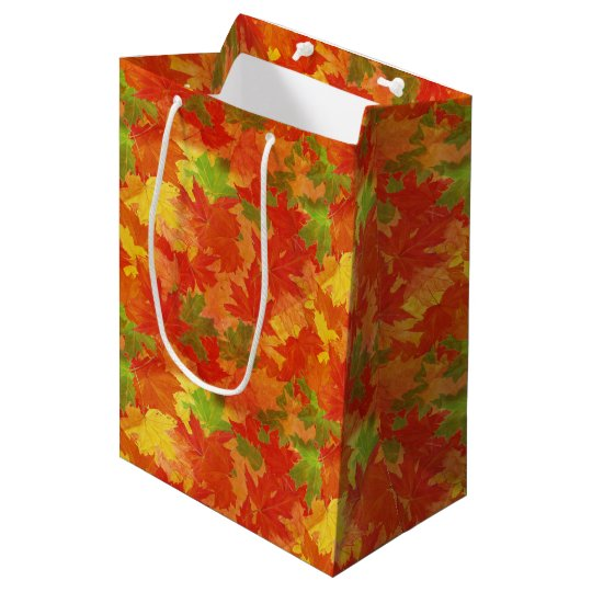 Autumn leaves pattern medium gift bag