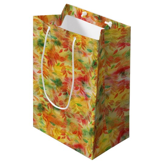 Autumn leaves pattern medium gift bag