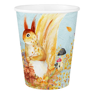 Autumn leaves pattern paper cup