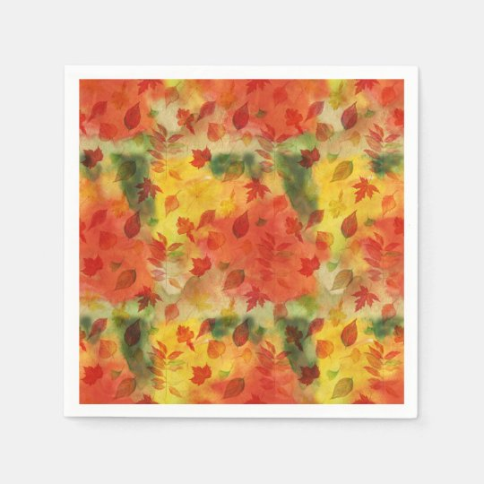 Autumn leaves pattern paper napkin