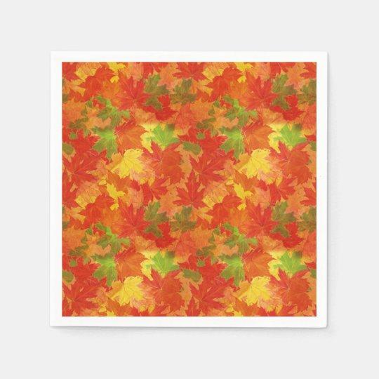 Autumn leaves pattern paper napkins