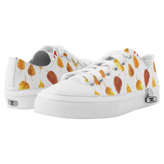 Autumn leaves pattern printed shoes