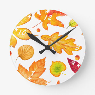 Autumn Leaves Pattern Round Clock
