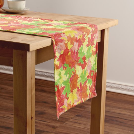Autumn leaves pattern short table runner