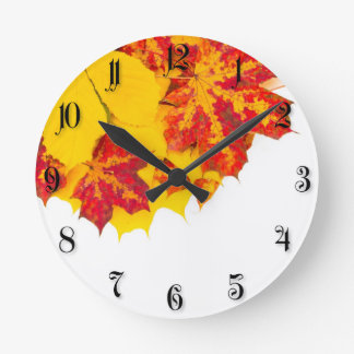 Autumn leaves pattern wallclock