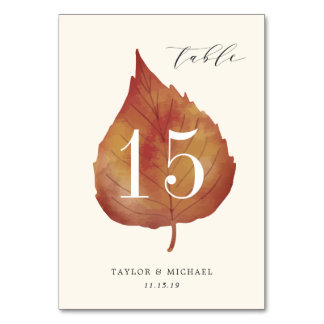 Autumn Leaves | Personalized Table Number Card