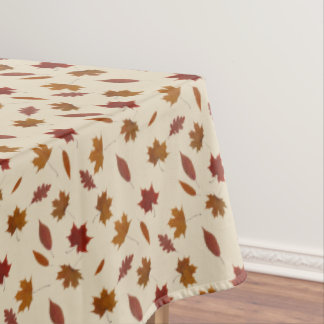 Autumn Leaves Photographic on Cream Custom Color Tablecloth