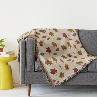 Autumn Leaves Photographic on Cream Custom Color Throw Blanket