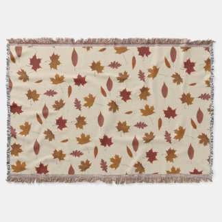 Autumn Leaves Photographic on Cream Custom Color Throw Blanket
