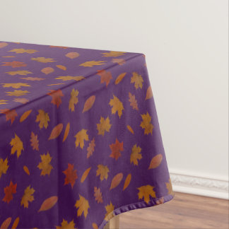 Autumn Leaves Photographic on Purple Custom Color Tablecloth