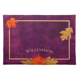Autumn Leaves Plum Personalised Placemat