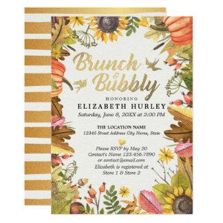 Autumn Leaves Pumpkin Brunch Bubbly Bridal Shower Card