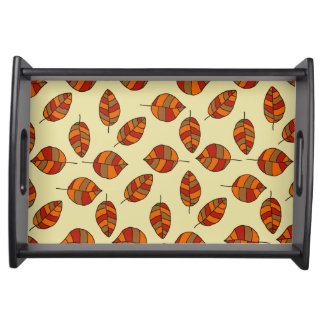 Autumn Leaves Red Leaf Pattern on any Color Serving Tray