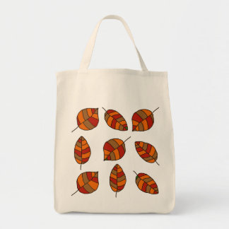 Autumn Leaves Red Leaf Pattern Grocery Tote Bag