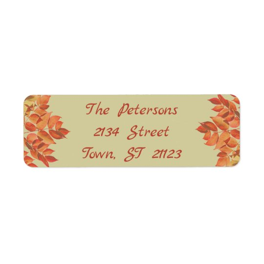 Autumn Leaves, Retro, Autumn Colours, Personalised Return Address Label