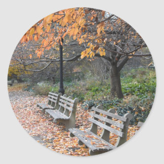 Autumn Leaves Riverside Park New York City NYC Classic Round Sticker