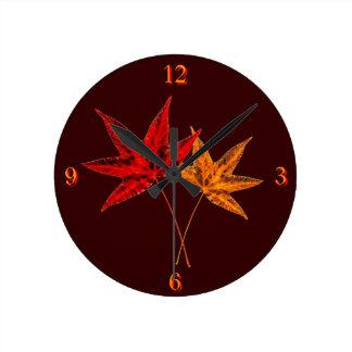 Autumn Leaves Round Clock