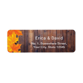 Autumn Leaves Rustic Barn Wood Return Address Label
