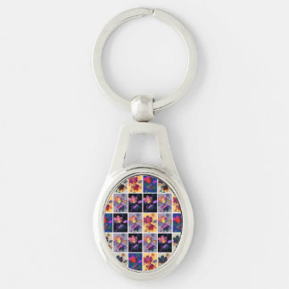Autumn Leaves Rustic Patchwork Quilt Collage Silver-Colored Oval Key Ring