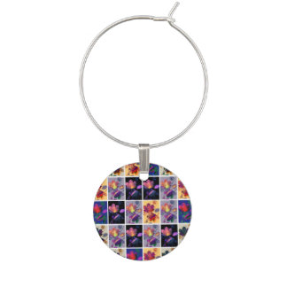 Autumn Leaves Rustic Patchwork Quilt Collage Wine Charm