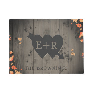 Autumn Leaves Rustic Wood Romantic Hearts Initials Doormat
