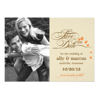 Autumn Leaves Save The Date Announcement Invitations