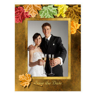 Autumn Leaves Save the Date Postcard
