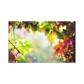 Autumn, leaves, sheets, colored. Bokeh, light Canvas Print