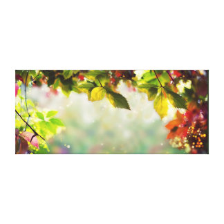 Autumn, leaves, sheets, colored - panorama canvas print
