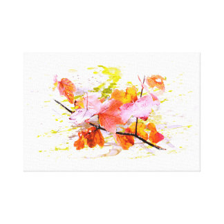 Autumn, leaves, sheets, colored. Water color Canvas Print