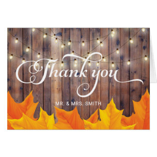 Autumn Leaves String Lights Barn Wood Thank You Card