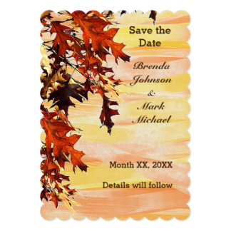 Autumn Leaves Swirl Color Save the Date Flat Card