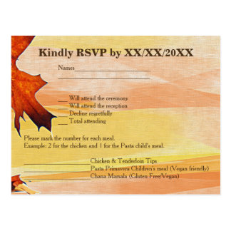 Autumn Leaves Swirl Colour RSVP and Menu Postcard