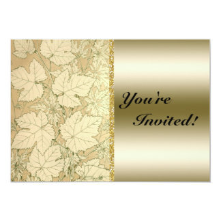Autumn Leaves Tan and Gold Metal Effect Personalized Invitations