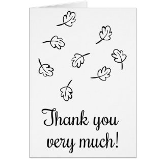 Autumn Leaves Thank You Black And White  Wedding Card