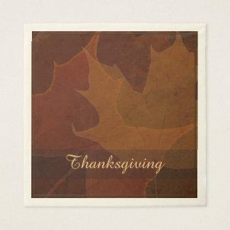 Autumn Leaves Thanksgiving Custom Text Color Disposable Serviette