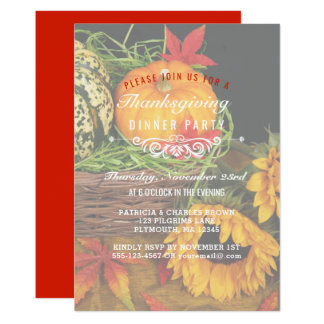 Autumn Leaves Thanksgiving Dinner Fall Harvest Card