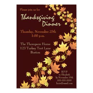 "Autumn Leaves Thanksgiving Dinner Invitation 5"" X 7"" Invitation Card"