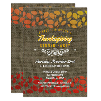 Autumn Leaves Thanksgiving Dinner Rustic Burlap Card