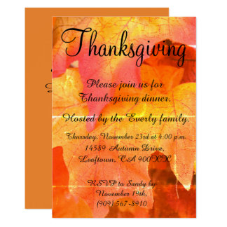 Autumn Leaves Thanksgiving Invitation