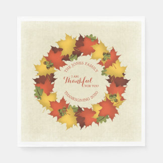 Autumn Leaves Thanksgiving Wreath Disposable Serviette