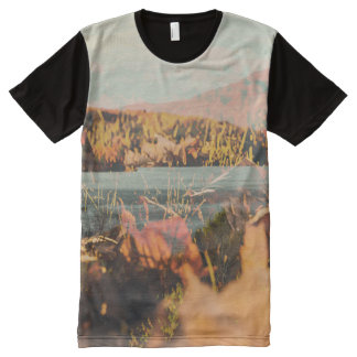 Autumn Leaves Tshirt Mountain Lake In Fall