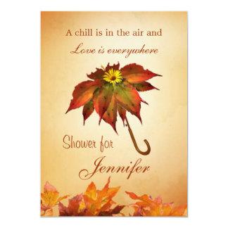 Autumn leaves umbrella Bridal Shower Invite