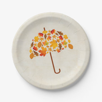Autumn Leaves Umbrella Paper Plate